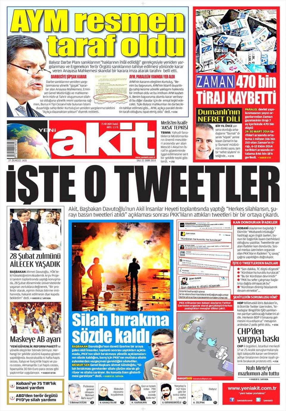 21 Ekim 2014 gazete manşetleri 21