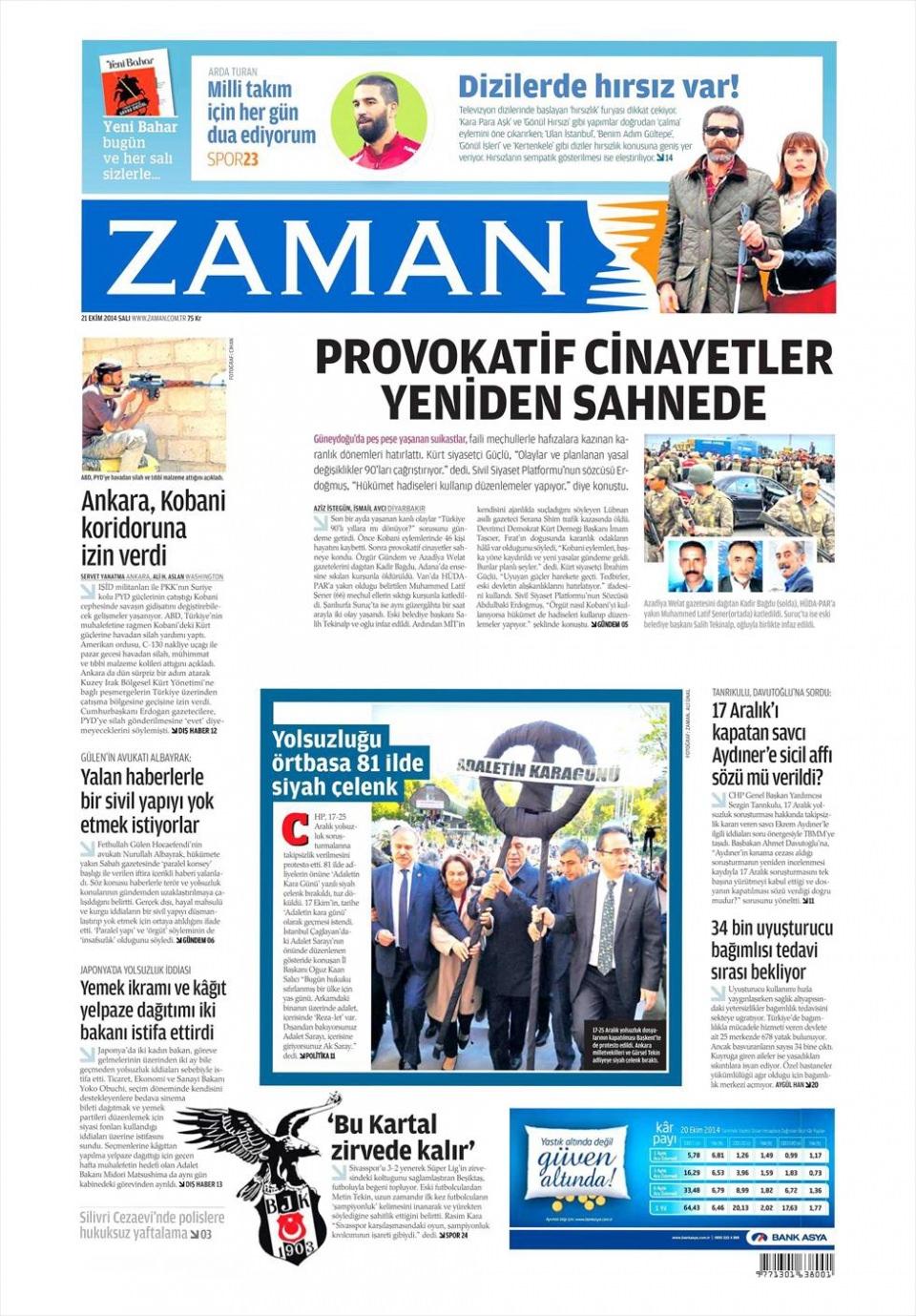 21 Ekim 2014 gazete manşetleri 24