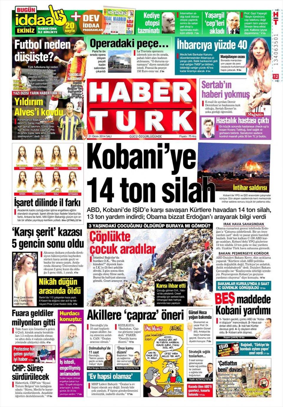 21 Ekim 2014 gazete manşetleri 8