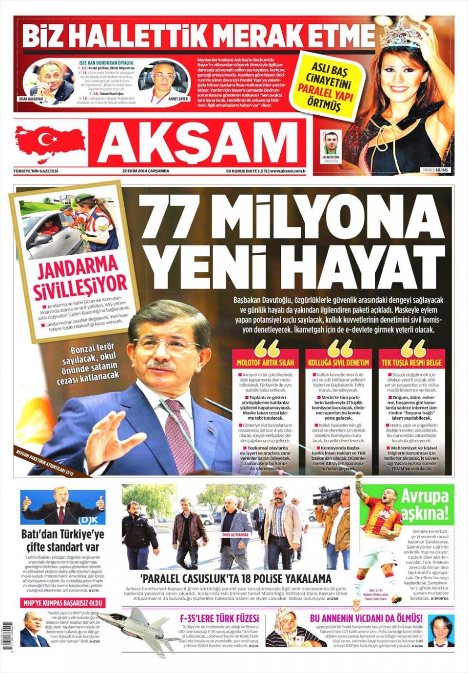 22 Ekim 2014 gazete manşetleri 1