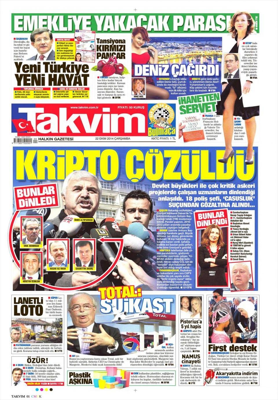 22 Ekim 2014 gazete manşetleri 18