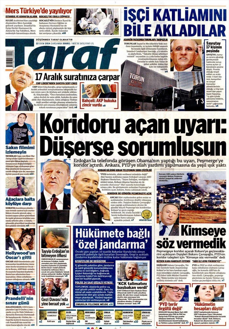 22 Ekim 2014 gazete manşetleri 19