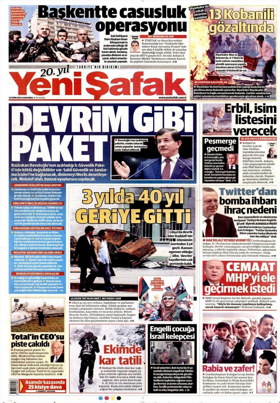 22 Ekim 2014 gazete manşetleri 24