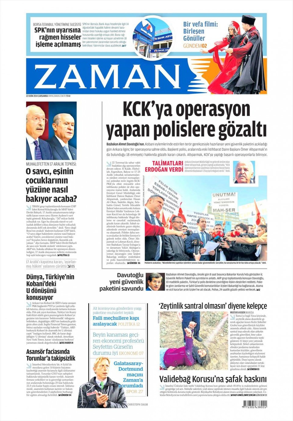 22 Ekim 2014 gazete manşetleri 25
