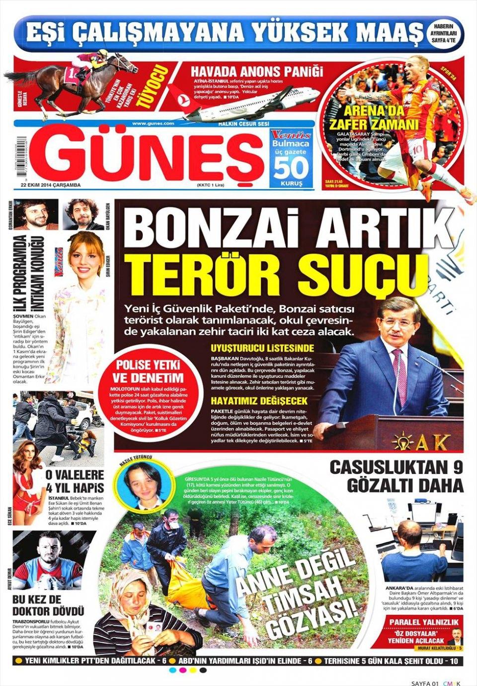 22 Ekim 2014 gazete manşetleri 8