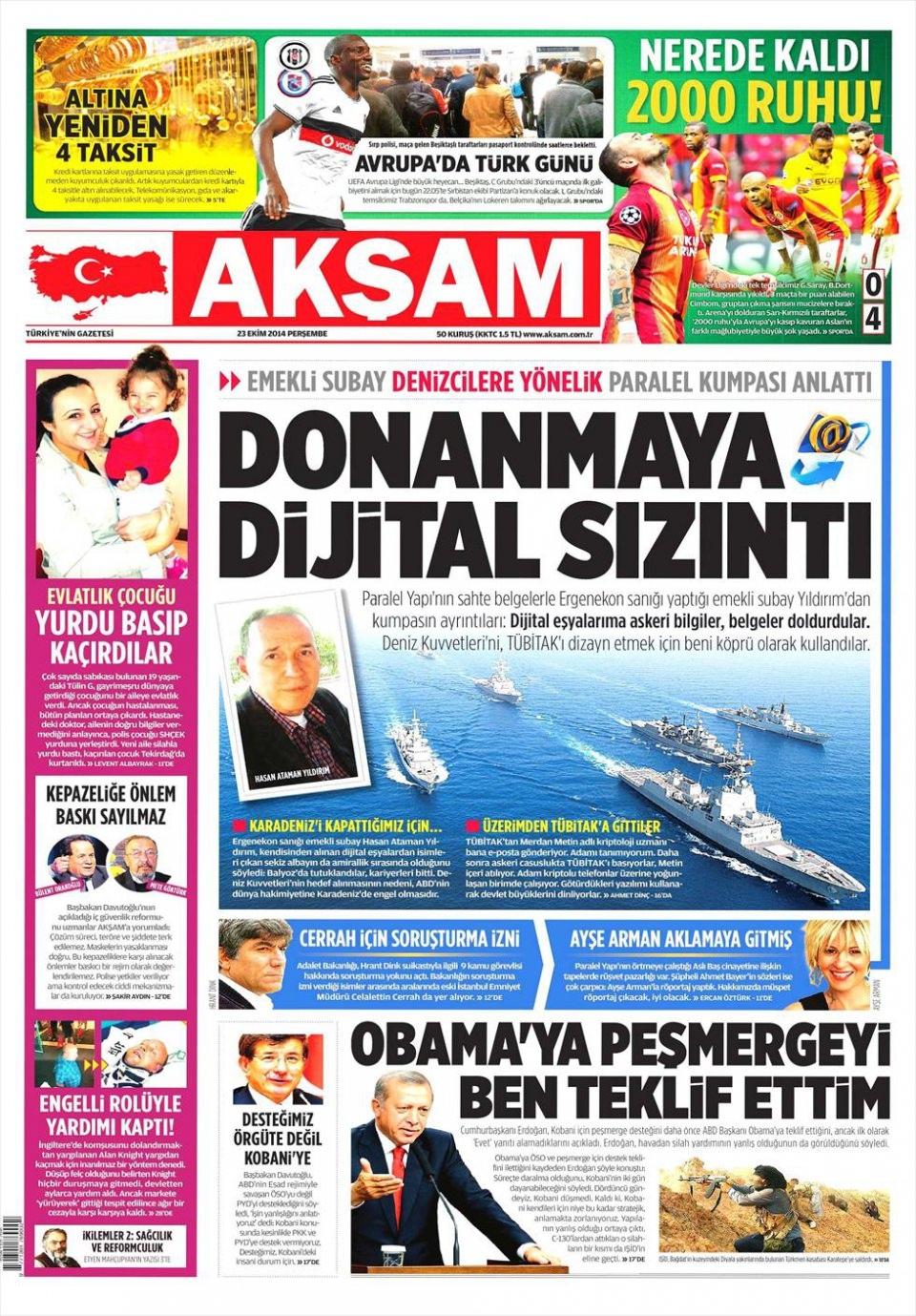 23 Ekim 2014 gazete manşetleri 1