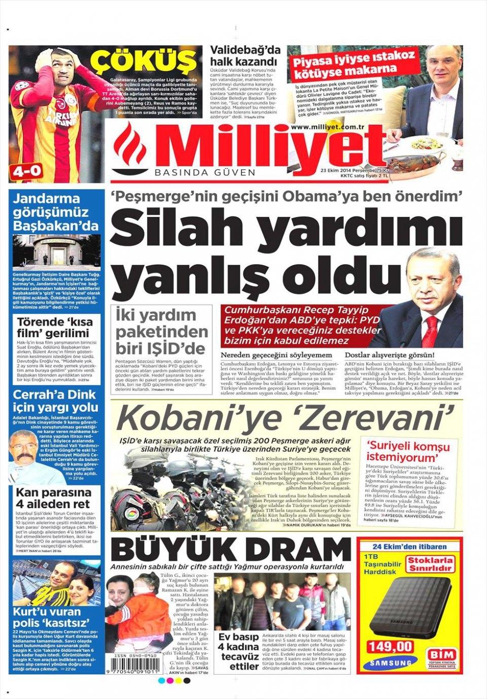 23 Ekim 2014 gazete manşetleri 12