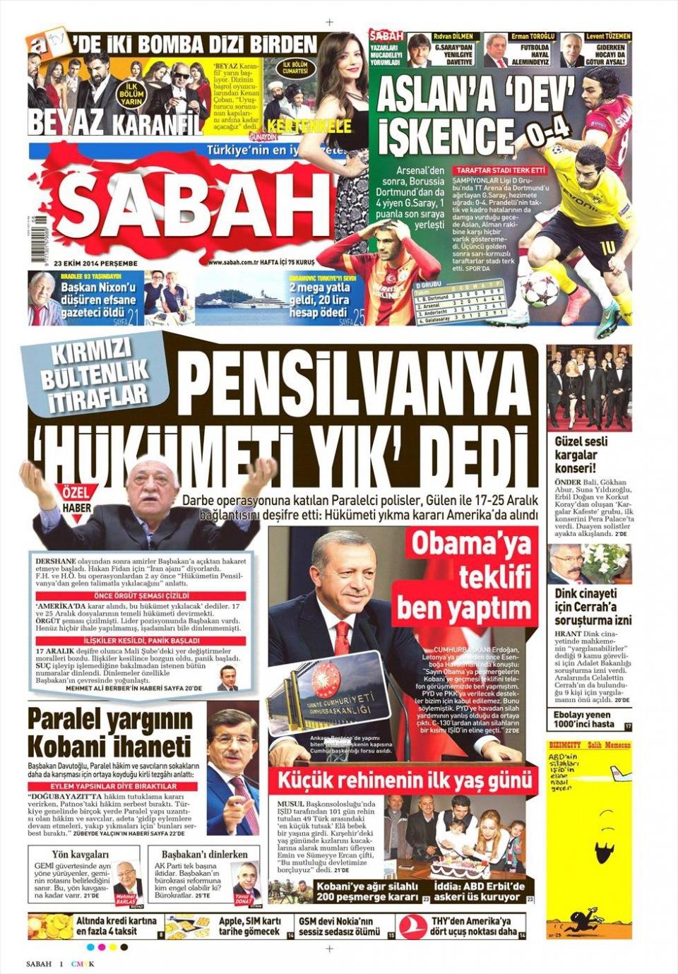 23 Ekim 2014 gazete manşetleri 14