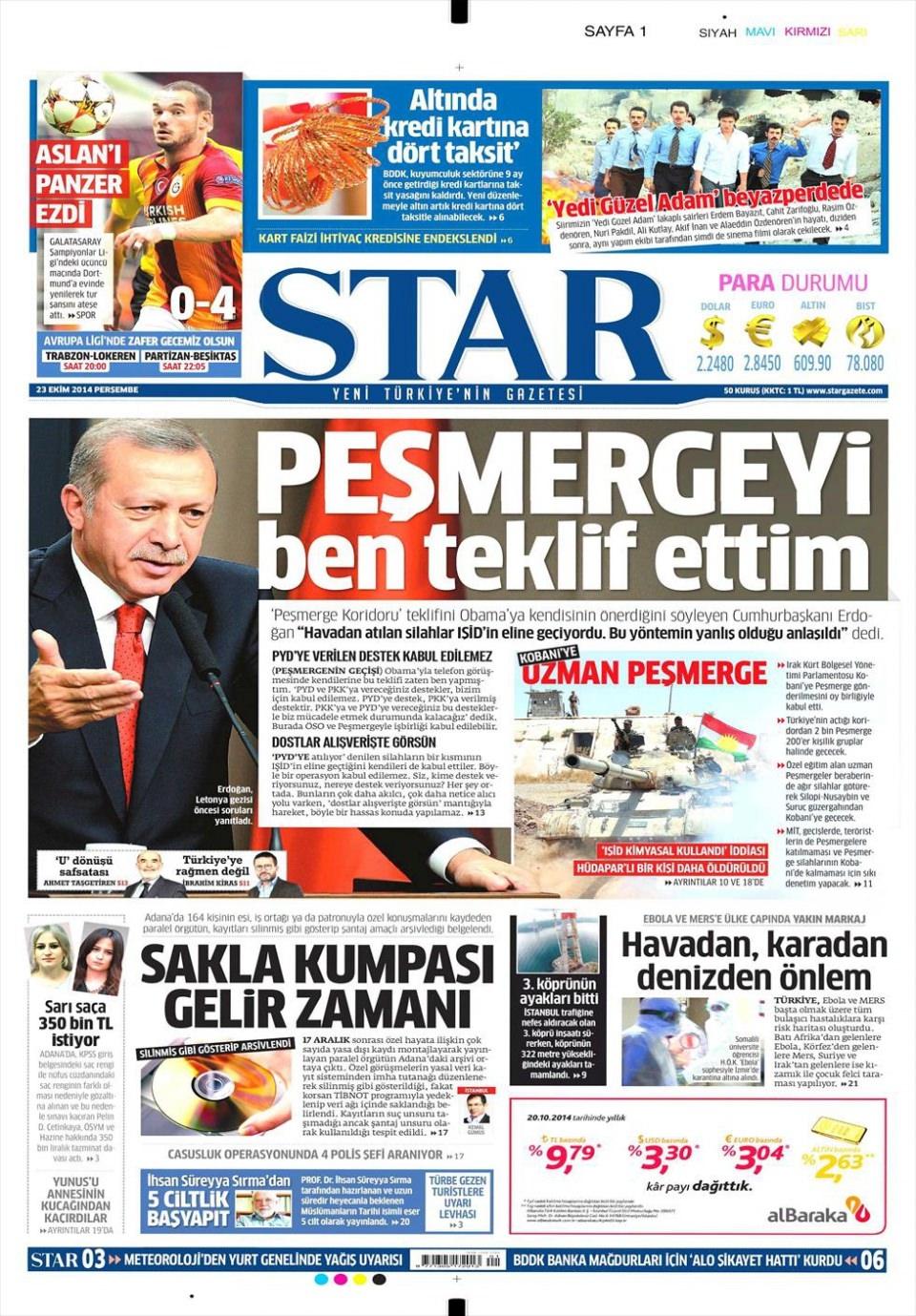 23 Ekim 2014 gazete manşetleri 16