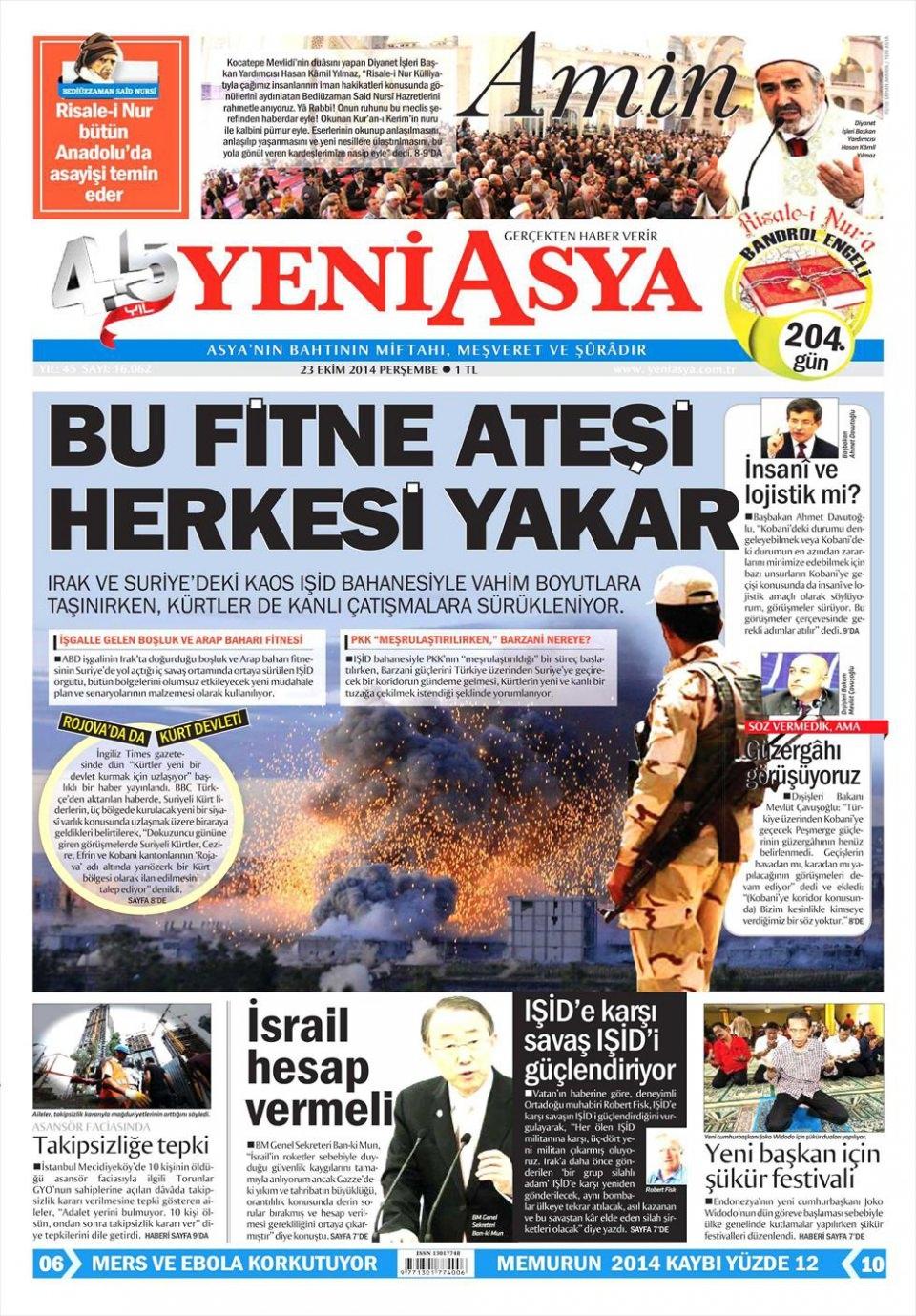23 Ekim 2014 gazete manşetleri 22