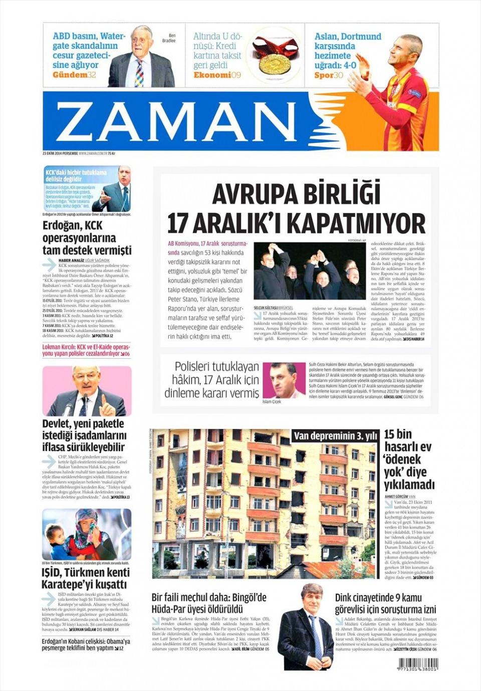 23 Ekim 2014 gazete manşetleri 24