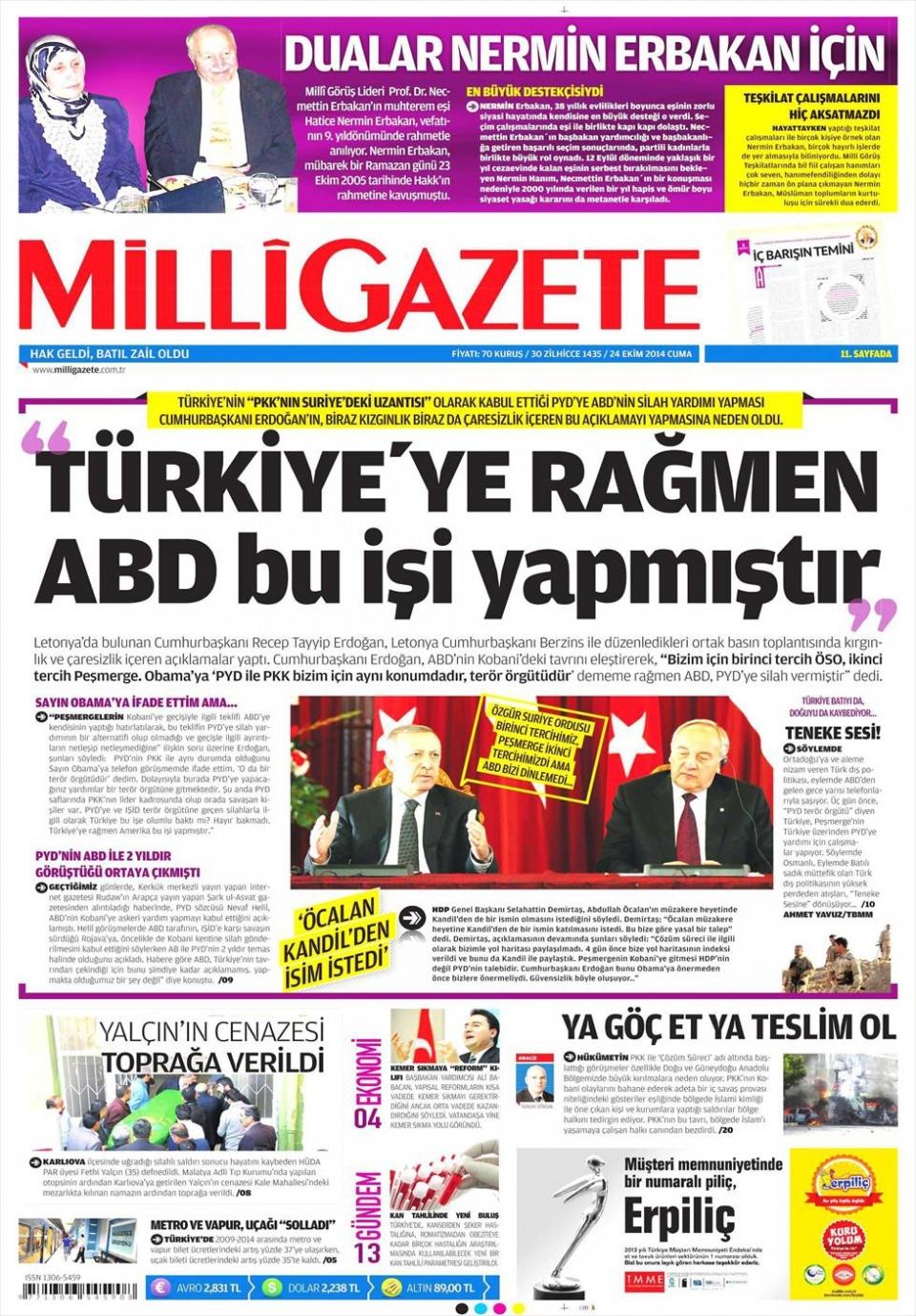 24 Ekim 2014 gazete manşetleri 11
