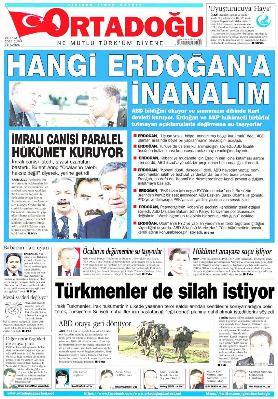 24 Ekim 2014 gazete manşetleri 13
