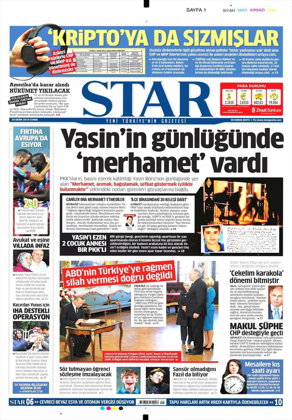 24 Ekim 2014 gazete manşetleri 17
