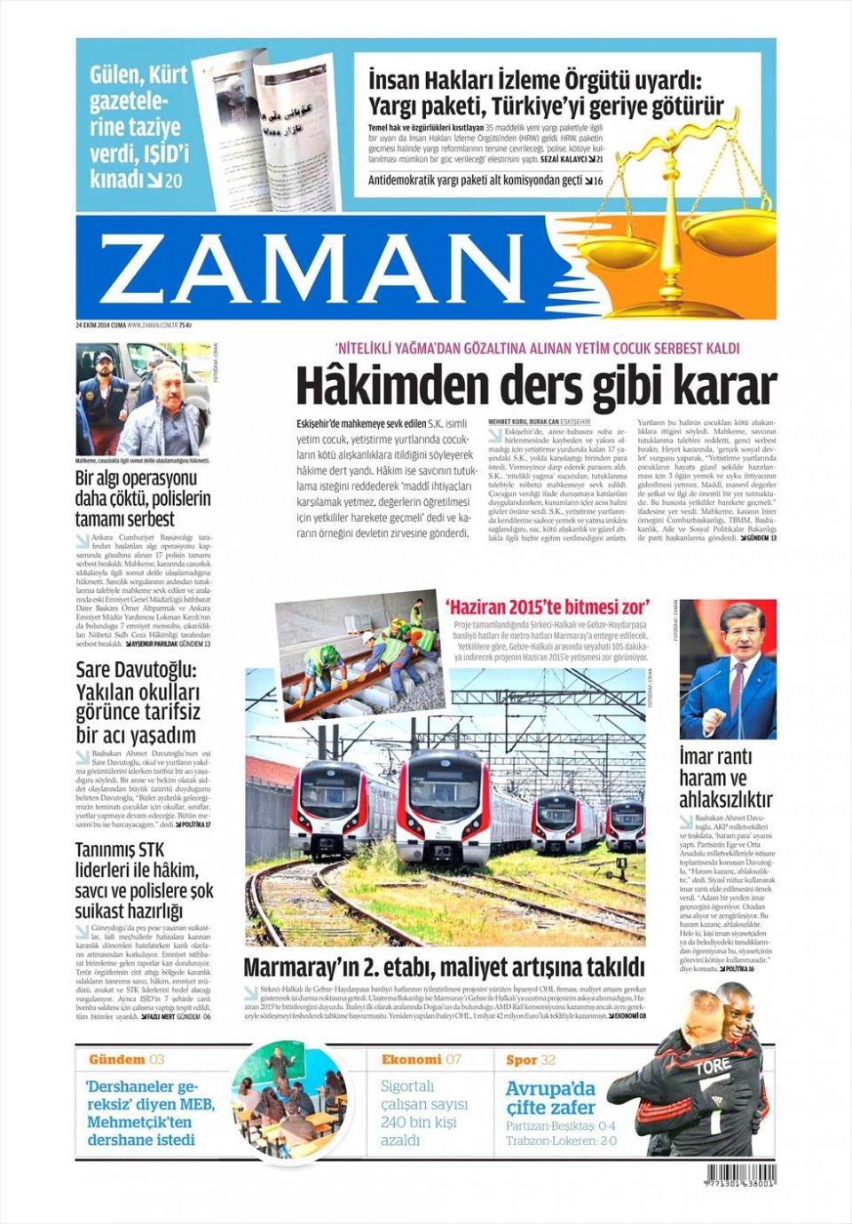 24 Ekim 2014 gazete manşetleri 25