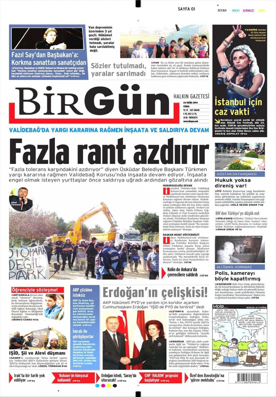 24 Ekim 2014 gazete manşetleri 3
