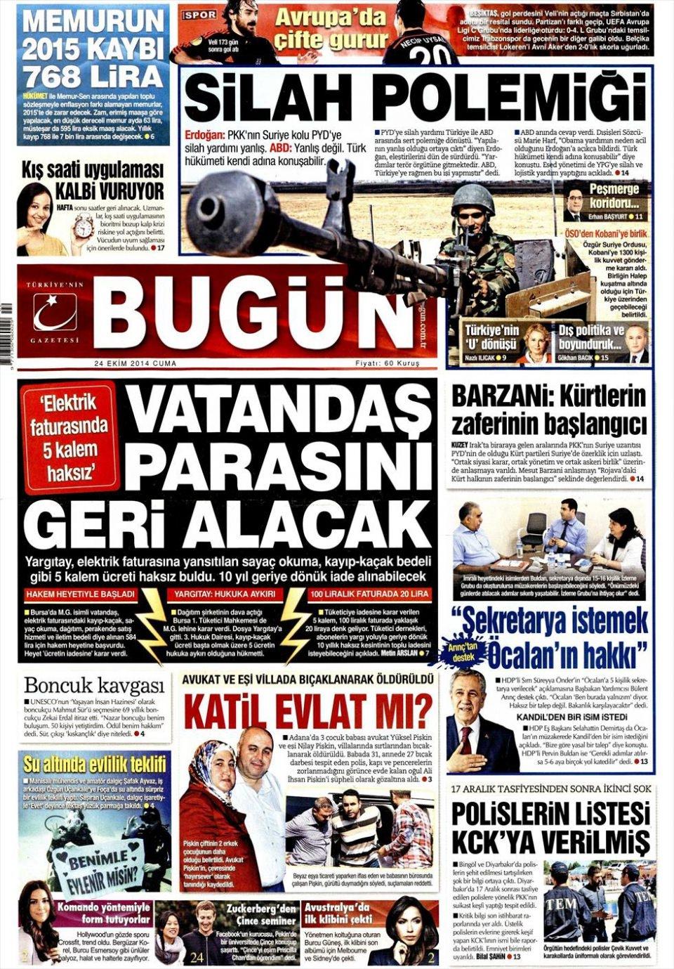 24 Ekim 2014 gazete manşetleri 4