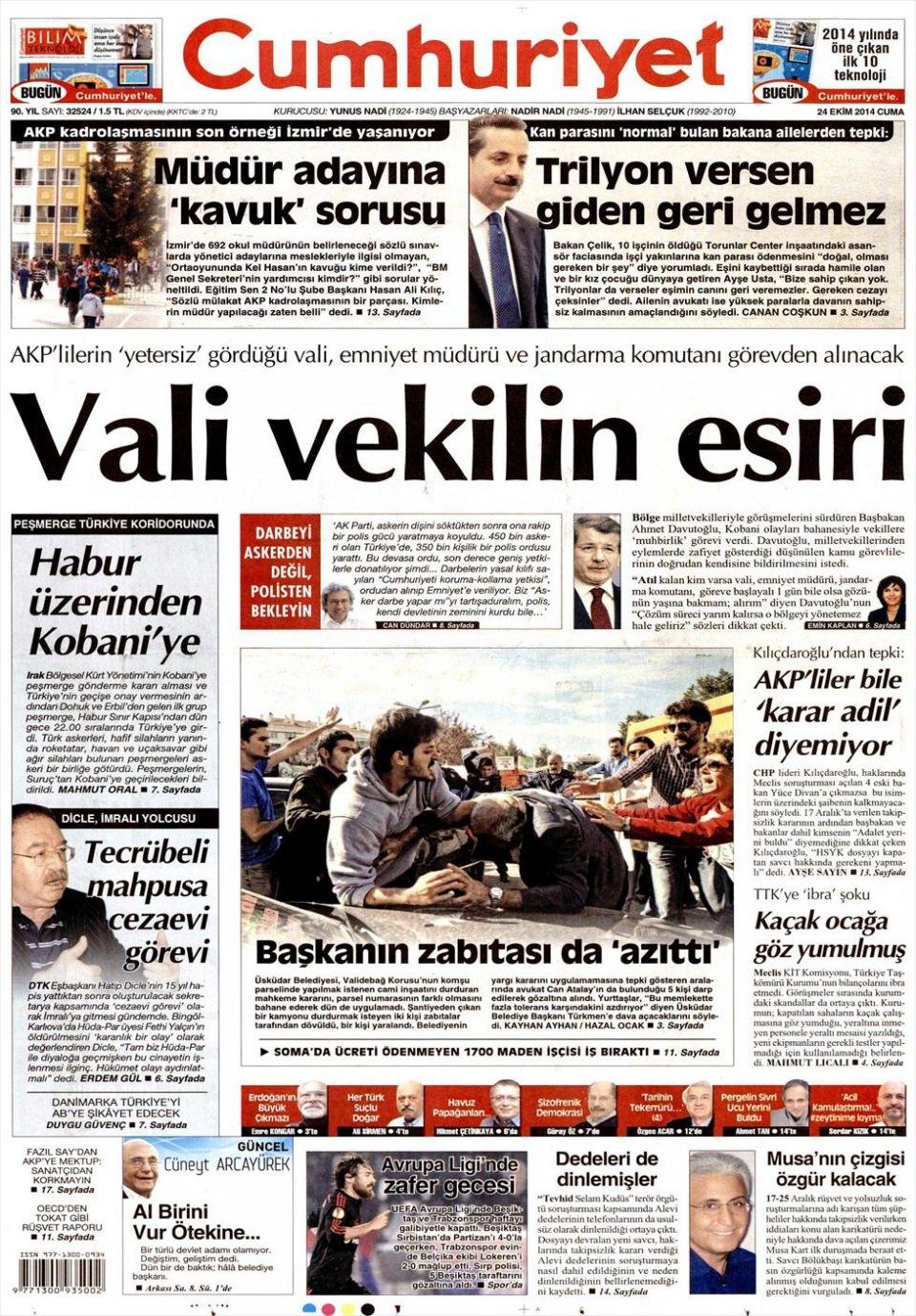 24 Ekim 2014 gazete manşetleri 5