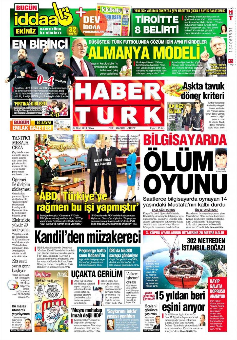 24 Ekim 2014 gazete manşetleri 9