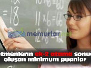 Öğretmen atamaları sonucu oluşan minimum puanlar