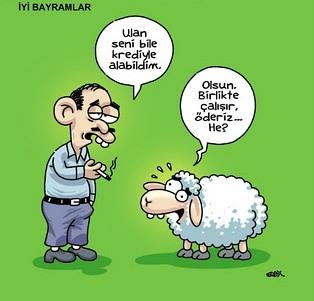 Kurbanlık karikatürler tam şenlik! 2