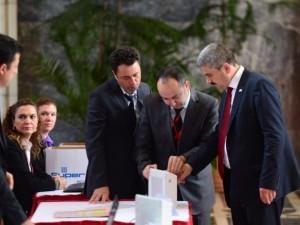 Milletvekilleri rozetlerini takıyor