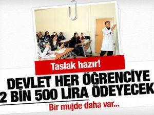 Bu öğrencilere devlet 2 bin 500 TL ödeyecek!