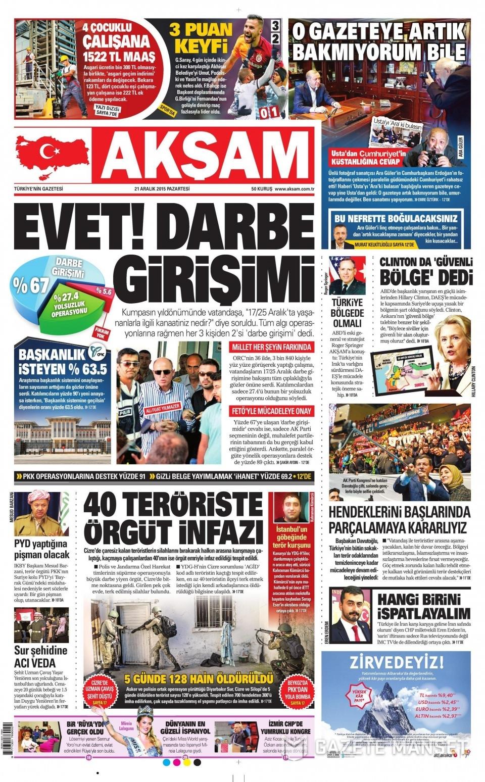 21 Aralık 2015 gazete manşetleri 1