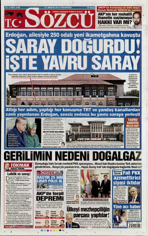 21 Aralık 2015 gazete manşetleri 12
