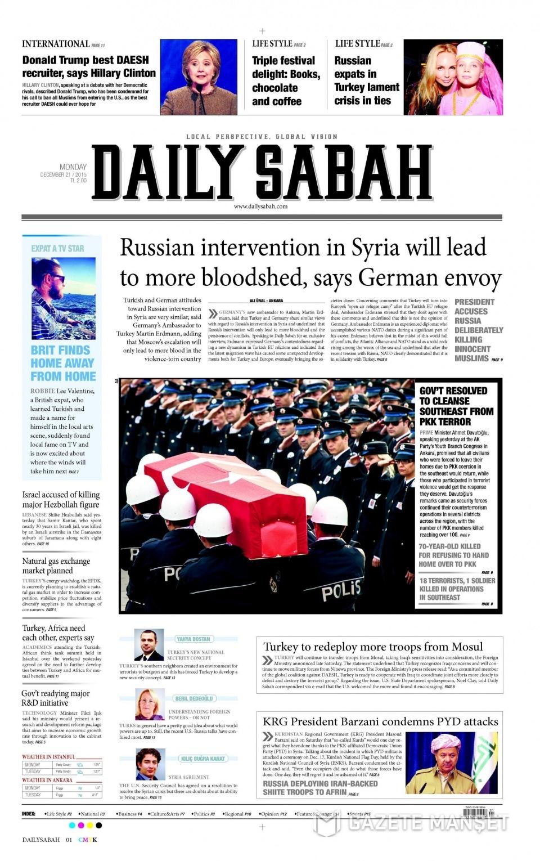 21 Aralık 2015 gazete manşetleri 14