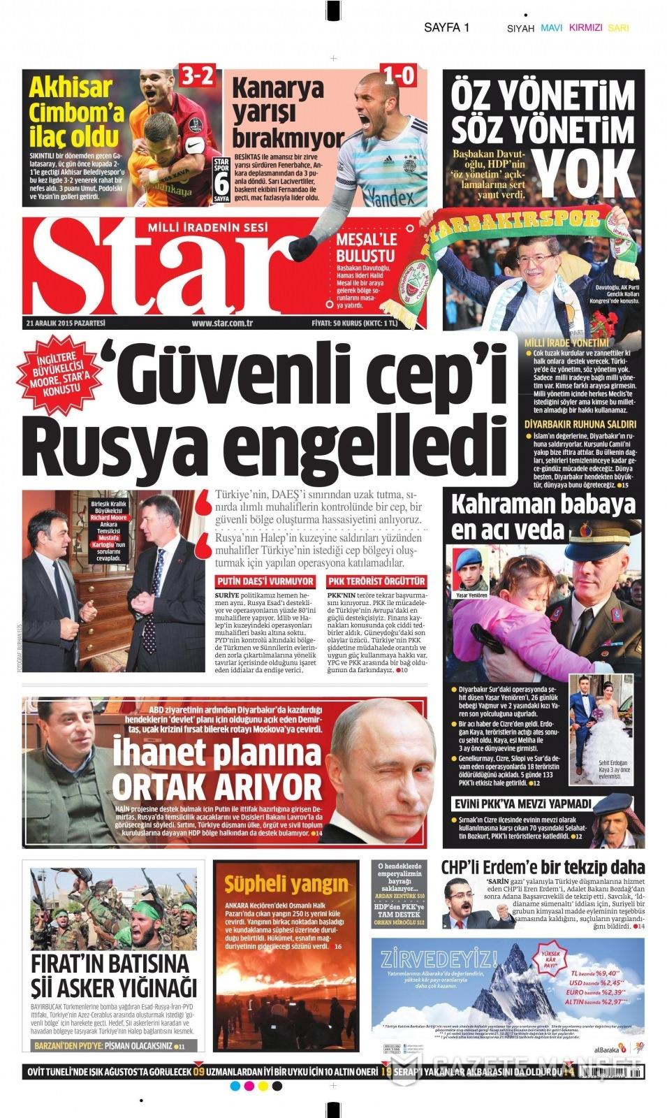 21 Aralık 2015 gazete manşetleri 15