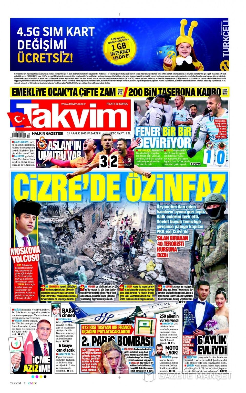 21 Aralık 2015 gazete manşetleri 16