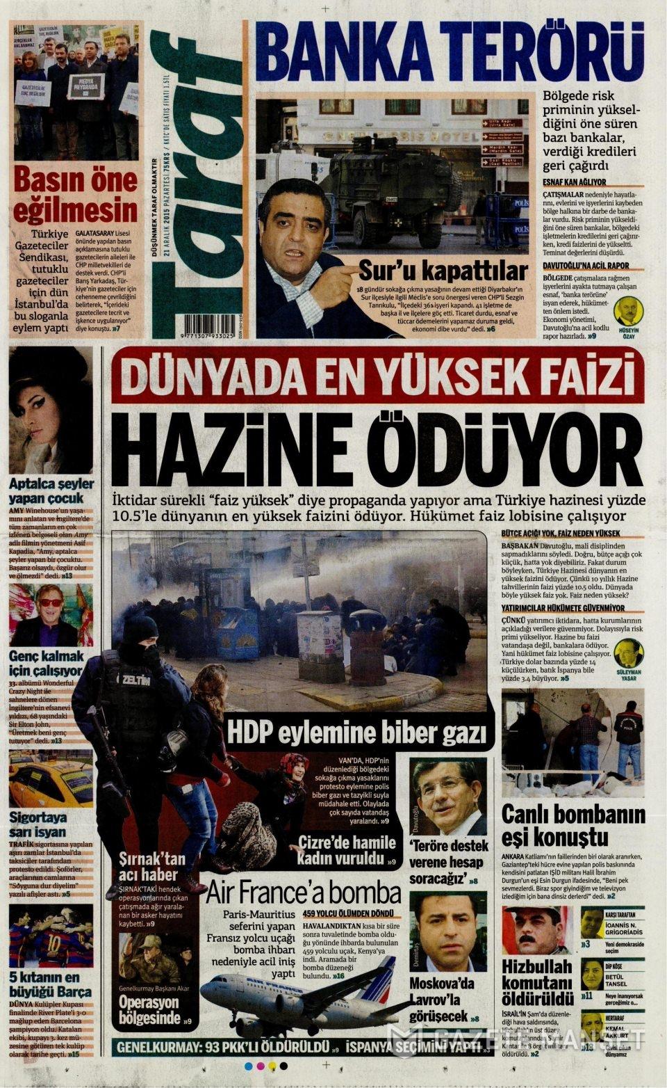 21 Aralık 2015 gazete manşetleri 17