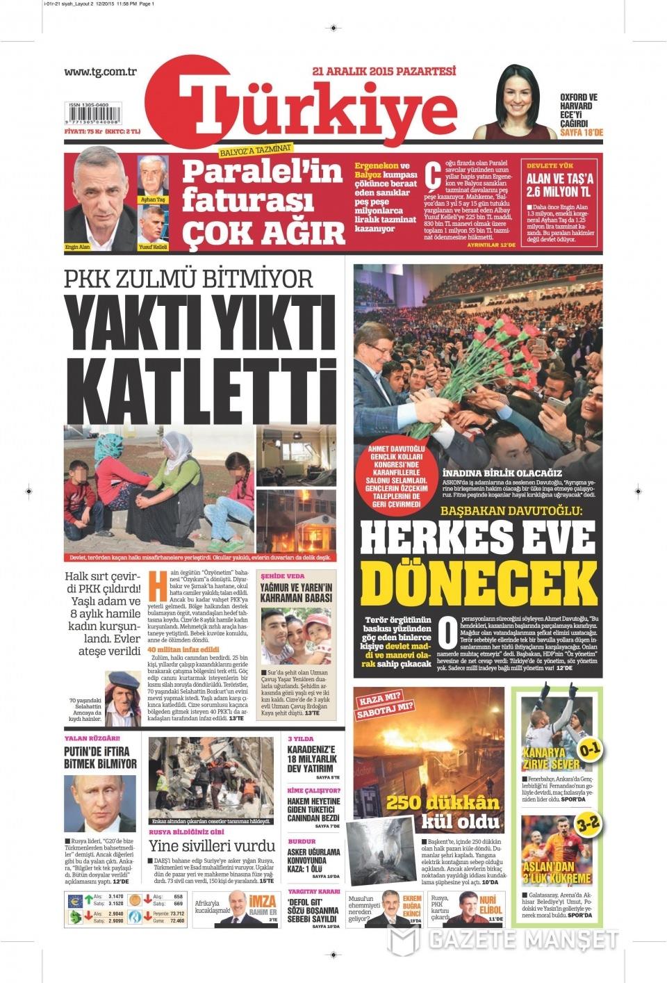 21 Aralık 2015 gazete manşetleri 18