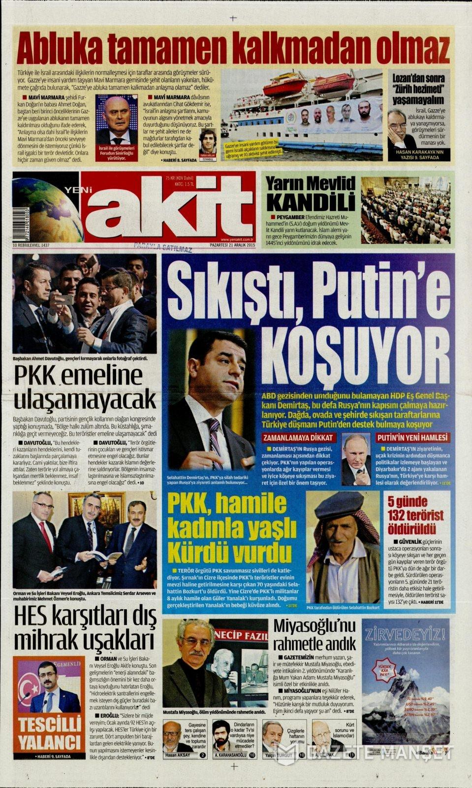 21 Aralık 2015 gazete manşetleri 20