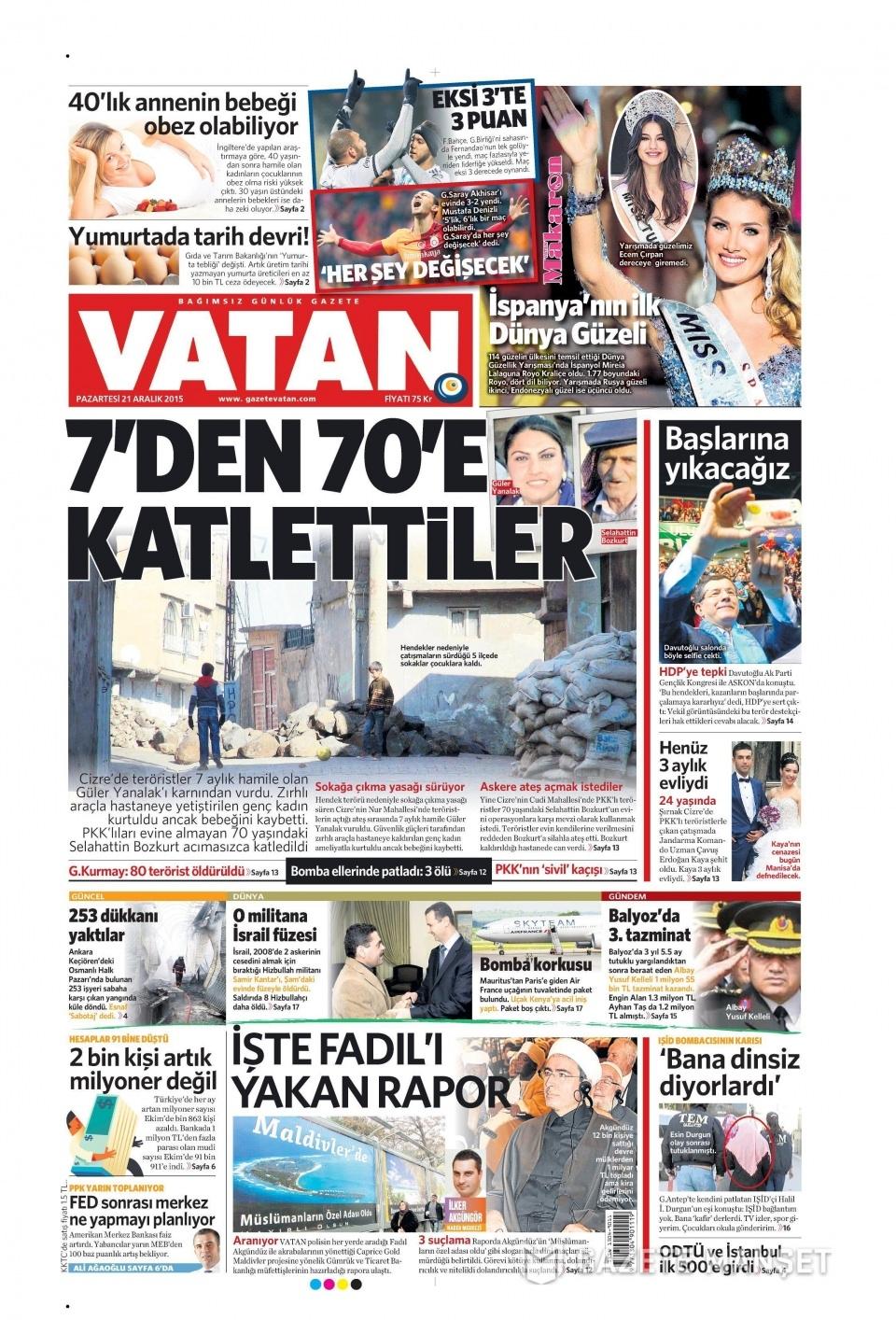 21 Aralık 2015 gazete manşetleri 21