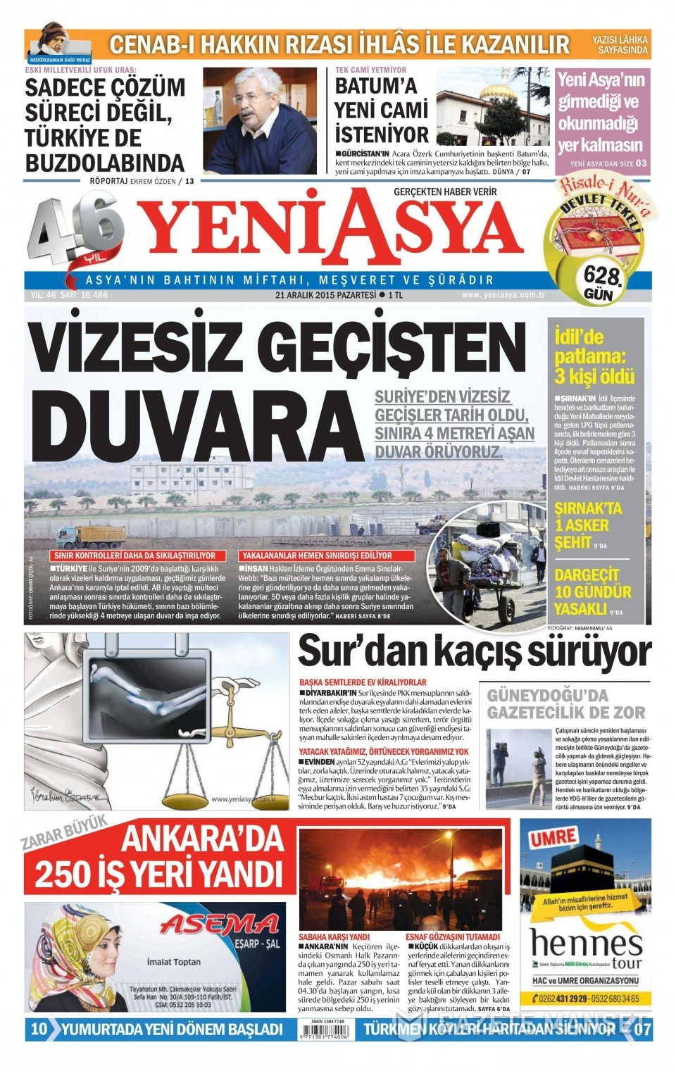 21 Aralık 2015 gazete manşetleri 22