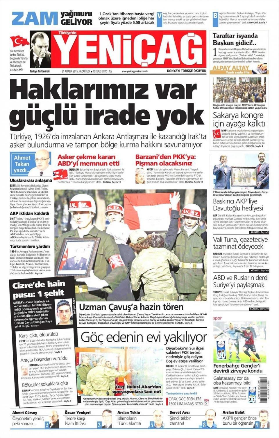 21 Aralık 2015 gazete manşetleri 23