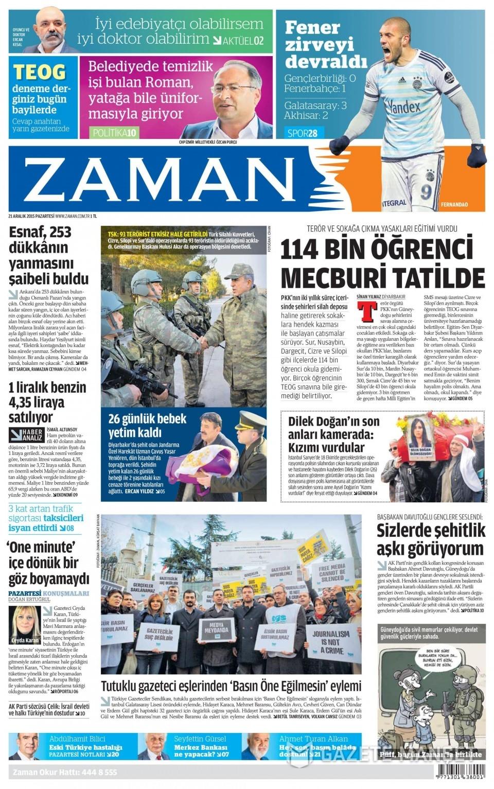 21 Aralık 2015 gazete manşetleri 25