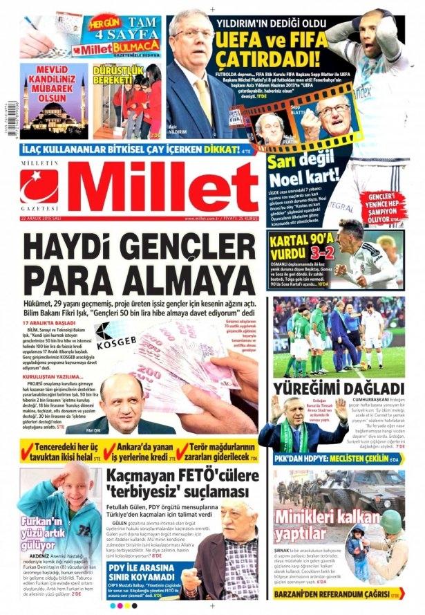 22 Aralık 2015 gazete manşetleri 10