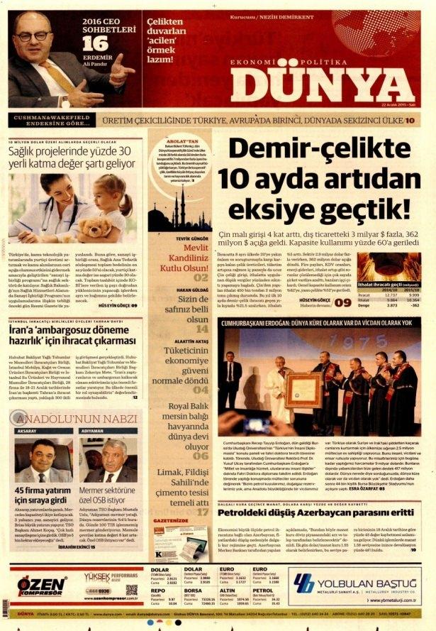 22 Aralık 2015 gazete manşetleri 12