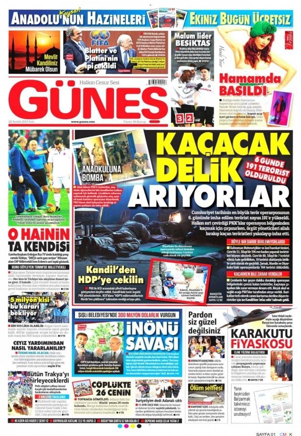22 Aralık 2015 gazete manşetleri 13