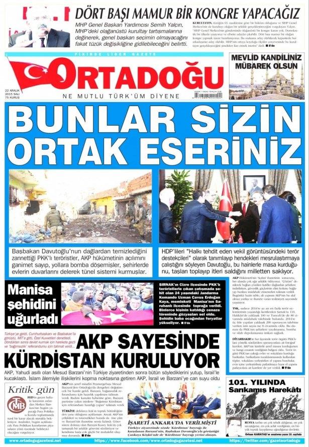 22 Aralık 2015 gazete manşetleri 14