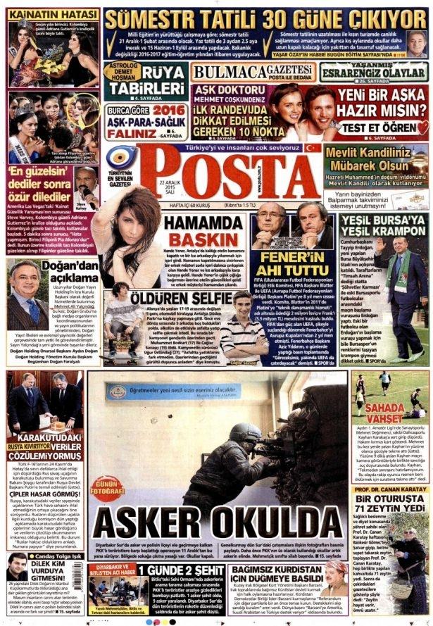 22 Aralık 2015 gazete manşetleri 15