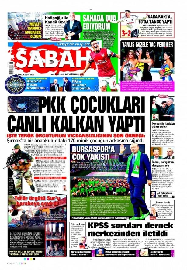 22 Aralık 2015 gazete manşetleri 16