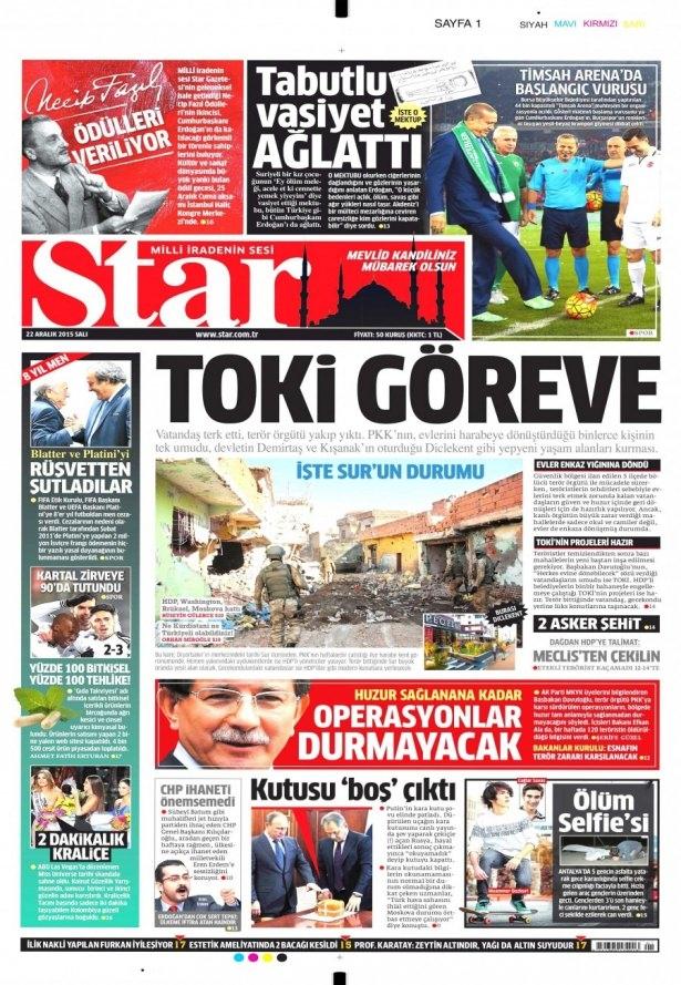 22 Aralık 2015 gazete manşetleri 18