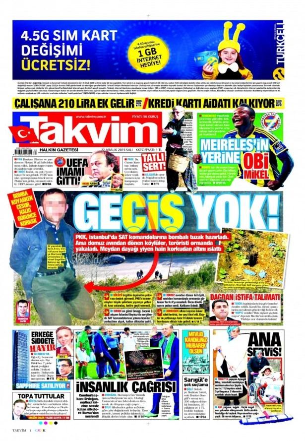 22 Aralık 2015 gazete manşetleri 19