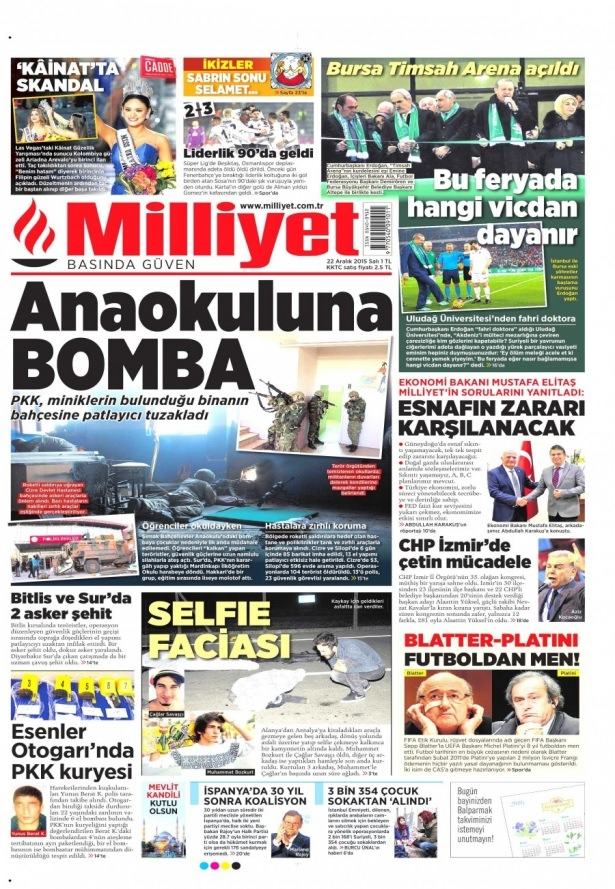 22 Aralık 2015 gazete manşetleri 2