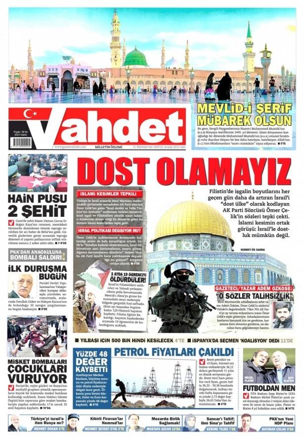 22 Aralık 2015 gazete manşetleri 22
