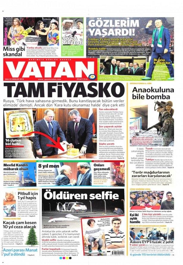 22 Aralık 2015 gazete manşetleri 23